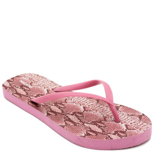 Women's pink flip-flop with snake skin insole print