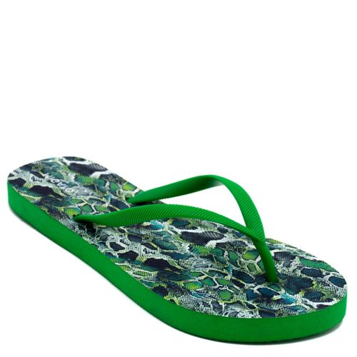 Women's green flip-flop with snake skin insole print