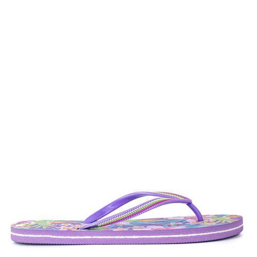 Purple flip flop with decorative print