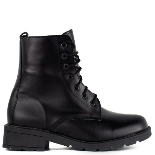 Black matte leather army boot