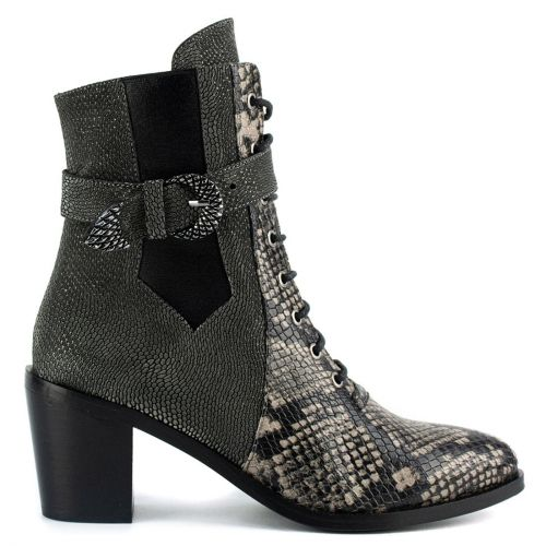 Pewter leather lace up bootie