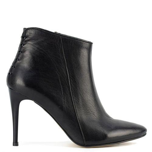 Black high heel leather bootie