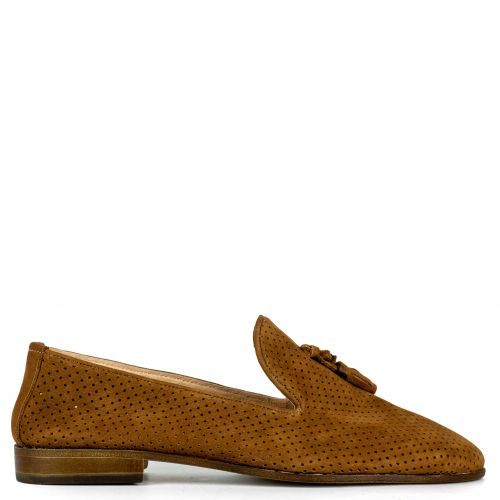 Tobacco leather loafer