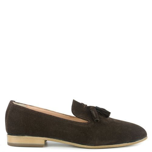 Brown leather moccasin