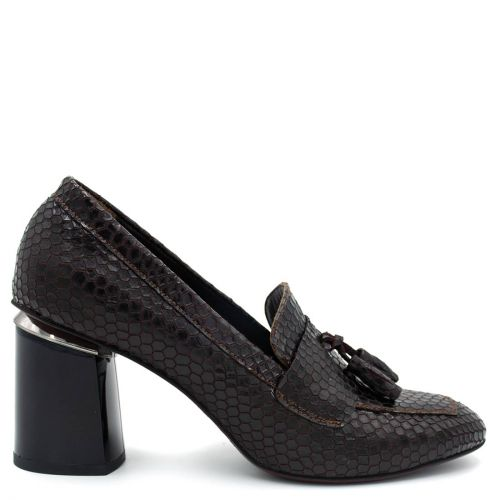 Brown leather high-heeled loafer