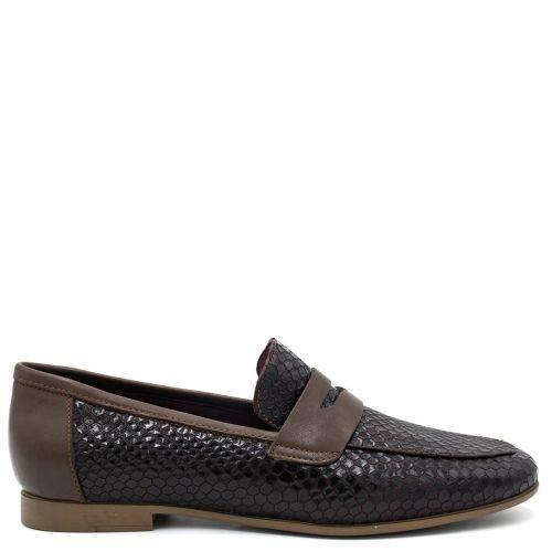 Brown leather snakeskin loafer