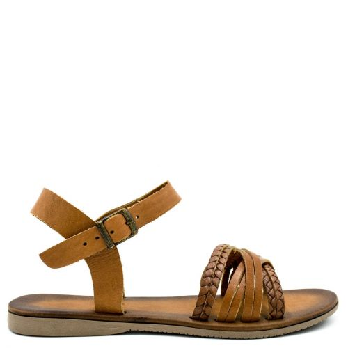 Tobacco flat leather sandal