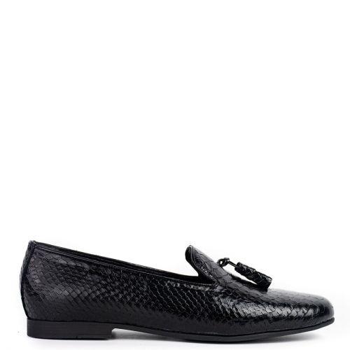 Black leather snakeskin loafer
