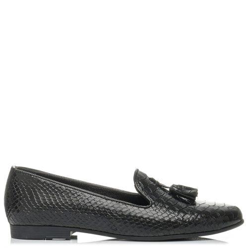 Μαύρο δερμάτινο snakeskin loafer