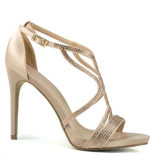 Nude bridal sandal with rhinestones