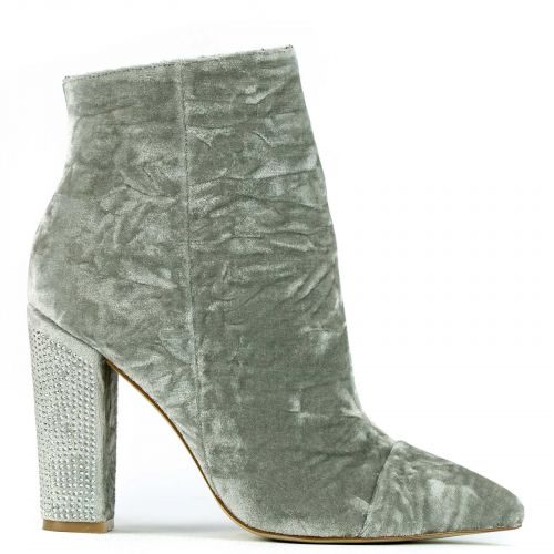 Grey velvet high heel bootie