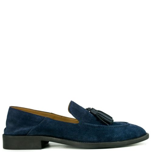 Leather navy formal moccasin