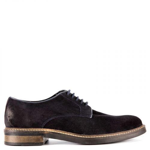 Men's dark blue leather Oxford