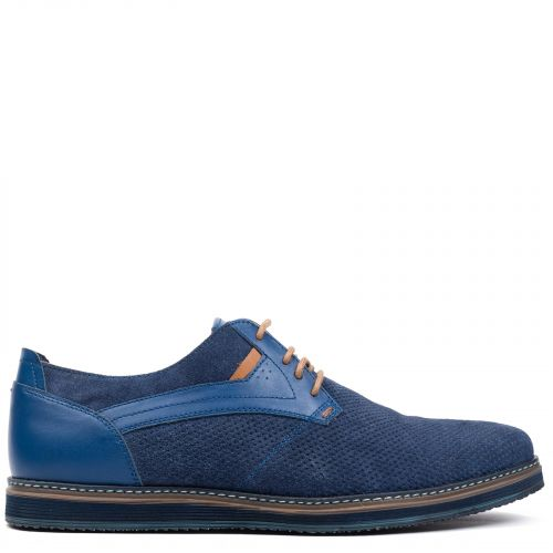 Men's blue leather Oxford
