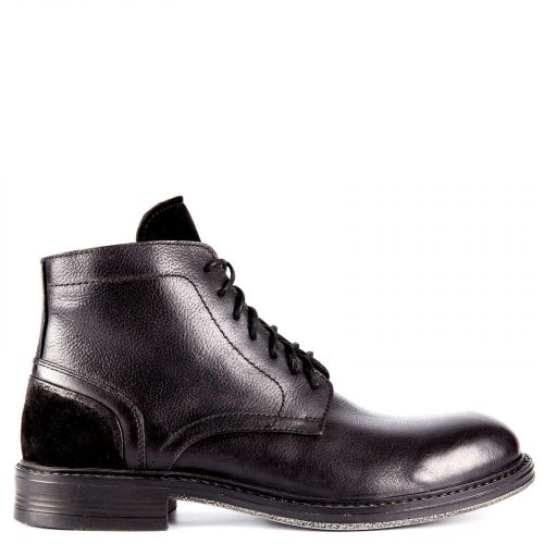 Black leather men's low cut boot