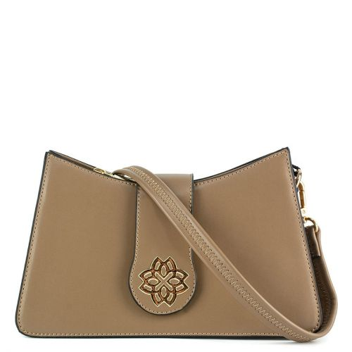 Taupe shoulder bag with zipper
