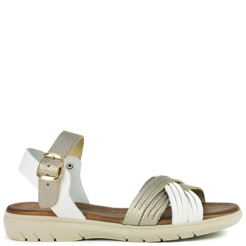 White leather sandal with crossed straps