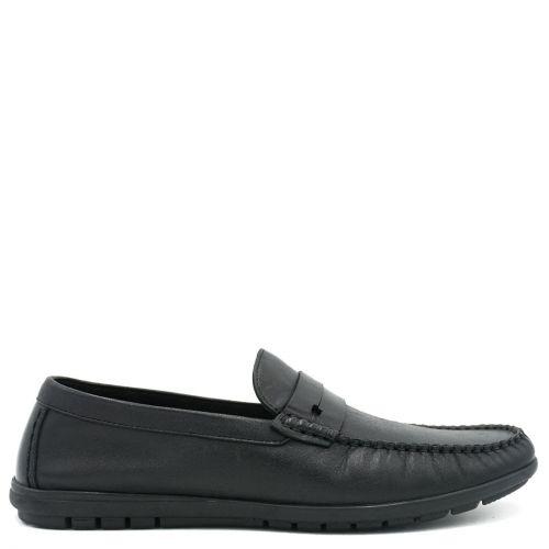 Men's black leather moccasin