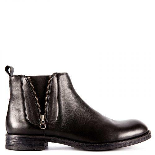 Black leather men's low cut boot