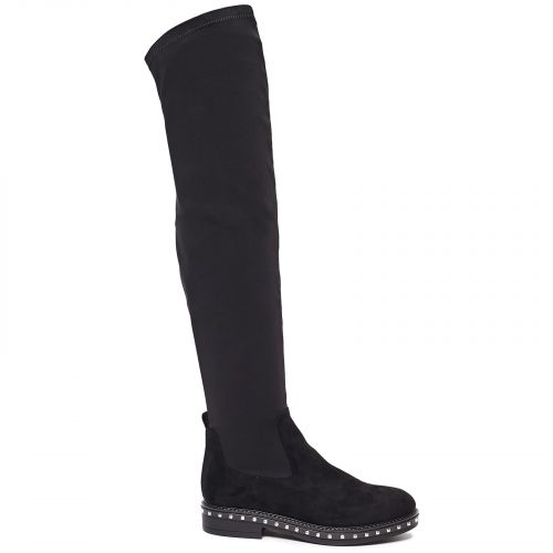 Black velvet over the knee boot