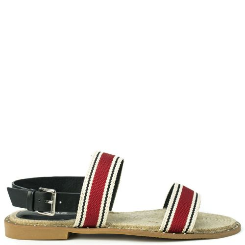 Red flat sandal with straps
