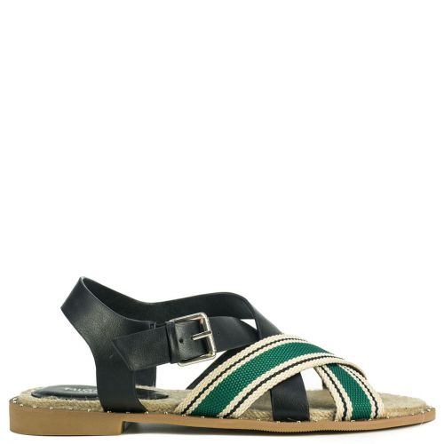 Green flat sandal with straps