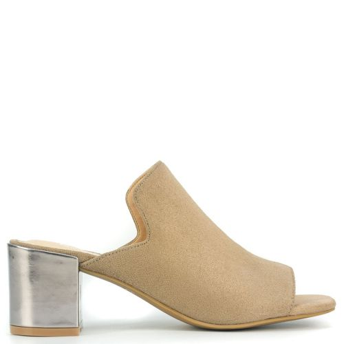 Taupe high heel sandal in suede