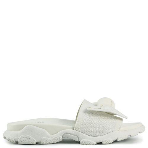 White slide sandal with bow