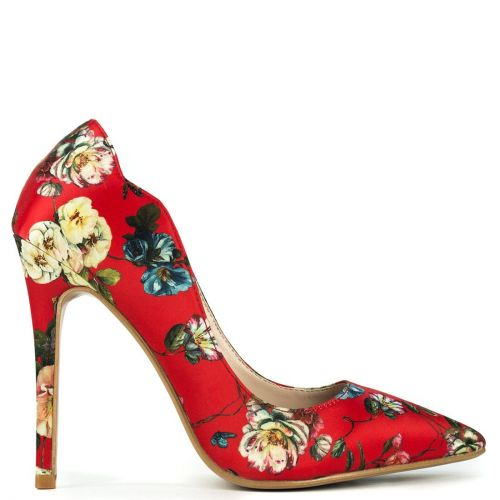 Pointy pump in red floral satin