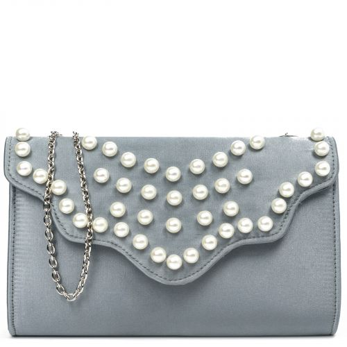 Grey satin envelope with pearls