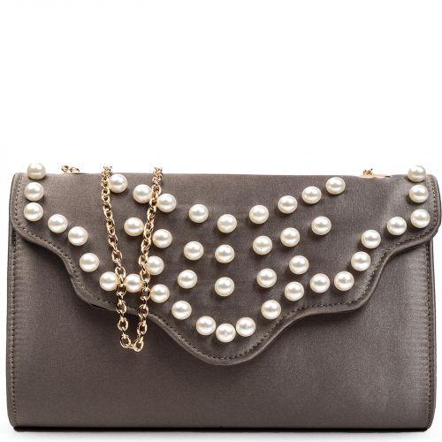 Khaki satin envelope with pearls