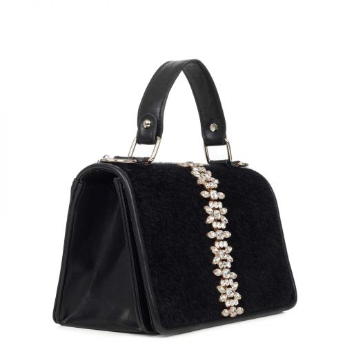 Black shoulder bag with rhinestones