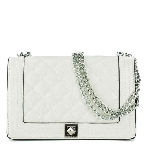 White patent quilted bag