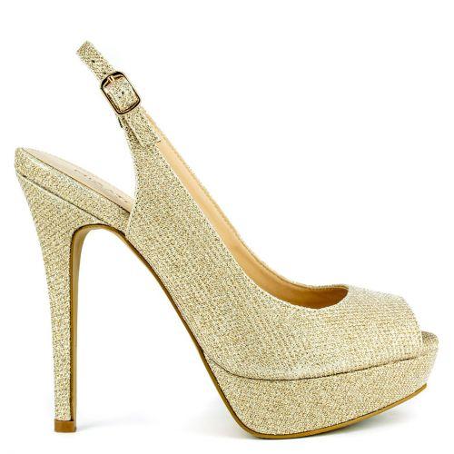 Gold peep toe pump