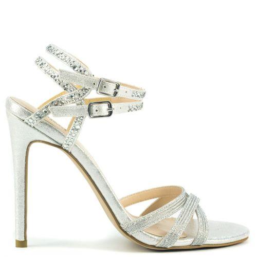 Silver high heel sandal with rhinestones