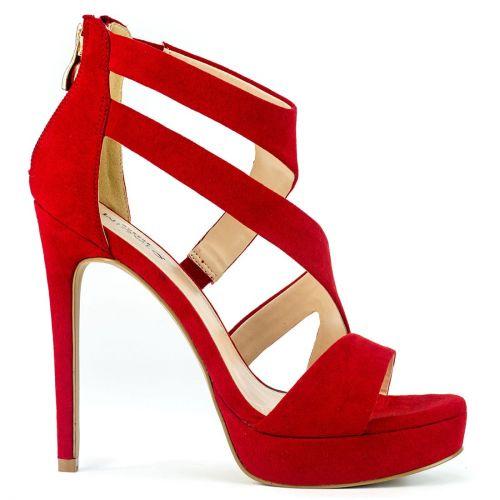 Red high heel sandal in suede