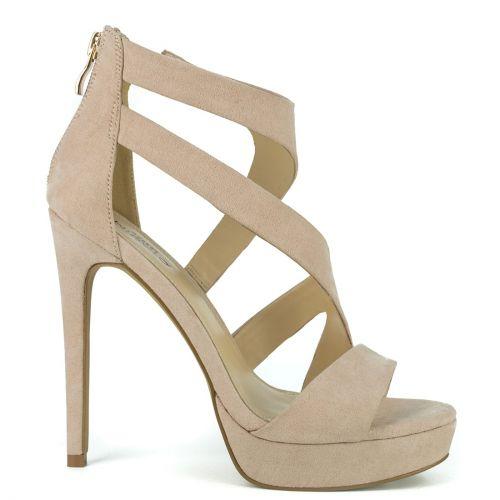 Nude high heel sandal in suede