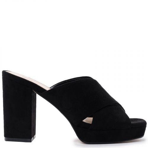 Black suede high heel sandal