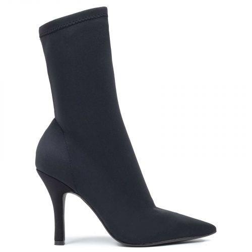 Black lycra high heel bootie