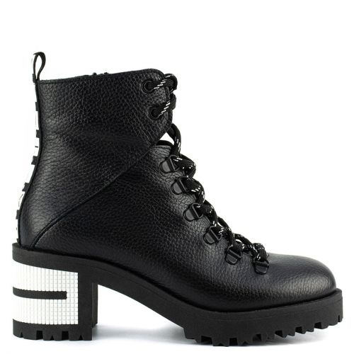 Black leather army boot