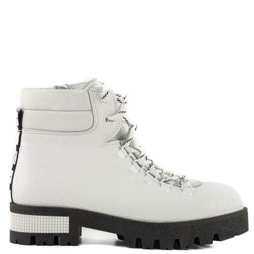 White leather army boot