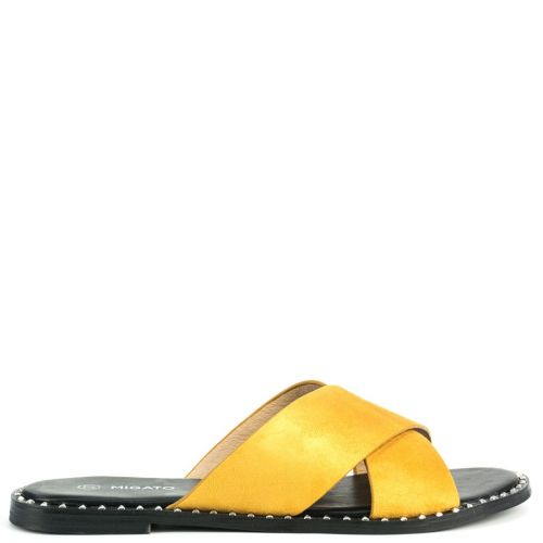 Yellow flat sandal in suede texture