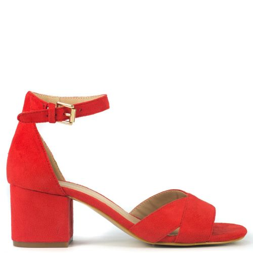 Red sandal in suede