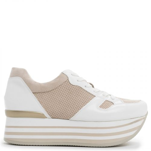 White-beige perforated platform sneaker