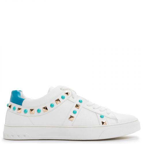 Λευκό sneaker με μπλε τρουκς