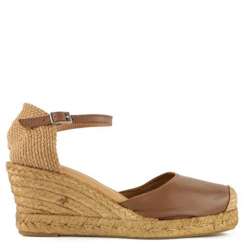 Tobacco leather espadrille
