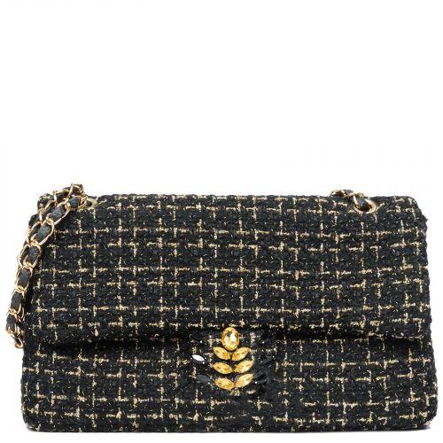 Black tweed shoulder bag