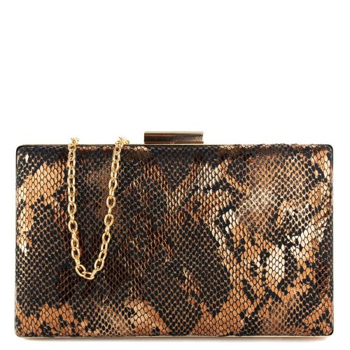 Bronze metallic snake clutch