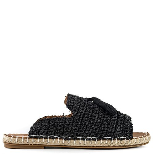Black knitted espadrille