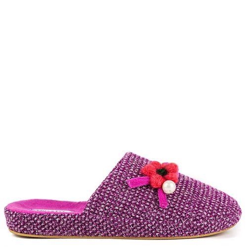 Purple slipper with flower